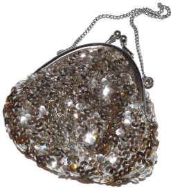 Vintage Clean Silver Sequin Satin Evening Bag Purse