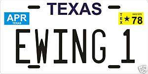 Jock Ewing 1 Dallas TV show 1978 TX License plate