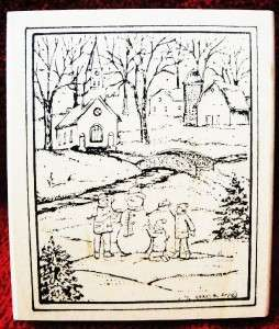 Northwoods Rubber Stamp Christmas Building Snowman Snow