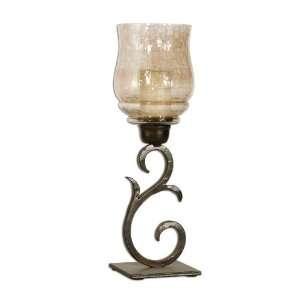 sorel, glass globe candle holders curved metal stands, set