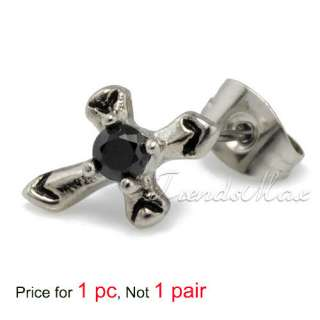 Black CZ 316L Stainless Steel MENS Party Stud Earring Black