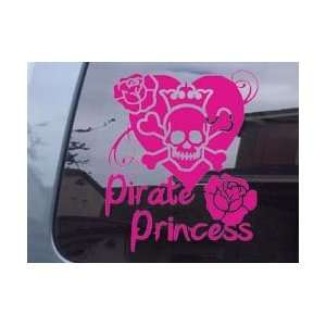 Pirate Princess Skull Girl Car Window Laptop Vinyl Decal Sticker  Pink