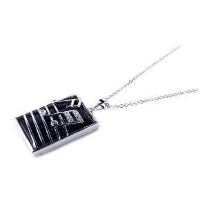 Nickel Free Silver Necklaces Square Onyx & Silver Musical