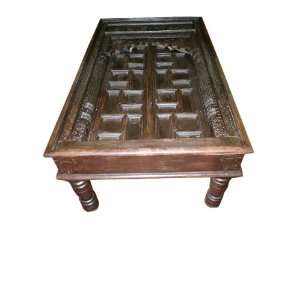 Antique Old Door Coffee Table Carved India Furniture Home & Kitchen