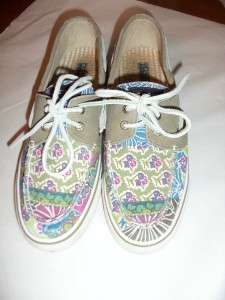 Sperry Top Sider Womens Nautical Boat Sneakers, Green+ Floral Design