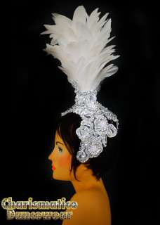 White Drag Queen CABARET Burlesque Feather HEADDRESS