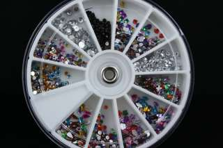 ABC X Nail Art Tips Glitter Rhinestone Decoration