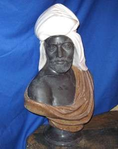 SCULPTURE CARVED VICTORIAN BLACK WHITE & PINK MARBLE MOOR SHEIKH BUST