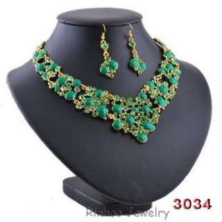 free 7color royal wedding womens Necklace Earring Set gold plated