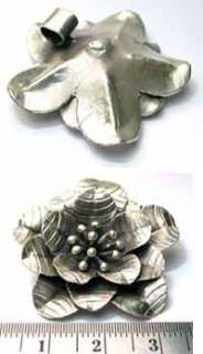 Thai Karen Hill Tribe silver Big Wild flower pendant