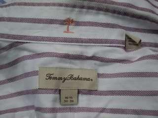 Mens TOMMY BAHAMA White/Purple Striped Cotton Dress Shirt Sz 16.5 34