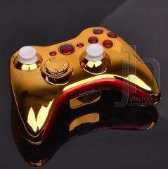 XBOX 360 CHROME GOLD AND RED WIRELESS CONTROLLER SHELL CASE MOD
