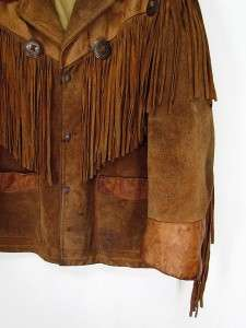 VINTAGE Brown Cowboy SCHOTT Suede Leather Coat WESTERN FRINGE Rancher