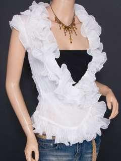 Trendy Chiffon Tiered Ruffles Crinkles Wrap Sleeveless Shirt Top
