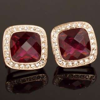 Rose Gold GP Red Swarovski Crystal Earring stud a484