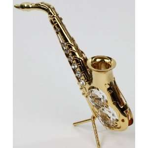 Jazz saxophone statue/ figure 24k gold plated made with