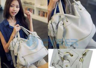 women Faux Leather Tassel Handbag Shoulder Bag Zipper
