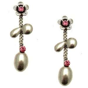 Acosta Jewellery   Silver Coloured with Pink Crystal   Antique Floral