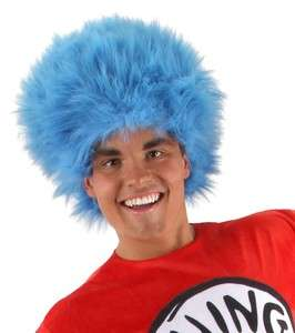 Thing 1 or 2 Cat In The Hat Dr. Seuss Adult BLUE Hair Costume Wig