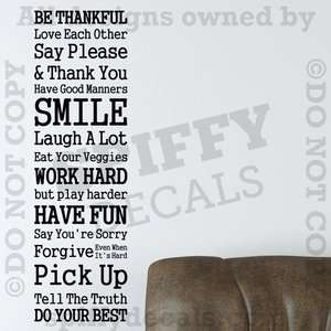 RULES OF THE HOUSE IN THIS HOME FAMILY Quote Vinyl Wall Decal Decor