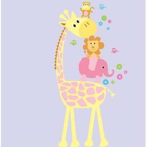 Removable Vinyl Wall Decal Girls Elephant Giraffe Monkey Lion