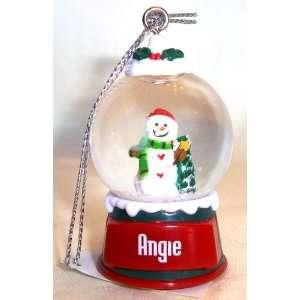 Angie Christmas Snowman Snow Globe Name Ornament