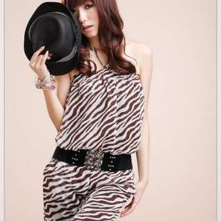 White Halter Animal Print Zebra Overalls Rompers Jumpsuit Women