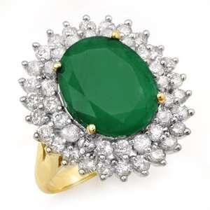 Genuine 10.83 ctw Emerald & Diamond Ring 14K Yellow Gold