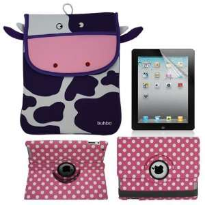 Skque Pink with White Polka Dots 360 Rotating Leather Case + Screen