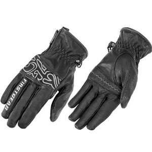 FirstGear Amber Mens Leather Street Motorcycle Gloves   Black / Large