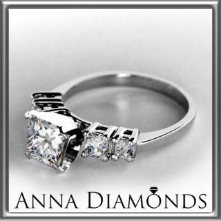 CT 5 STONE PRINCESS CUT DIAMOND ENGAGEMENT RING 14K