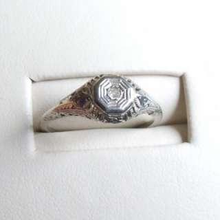 Filigree Old Mine Cut Diamond, 14kt White Gold. Antique Ring.