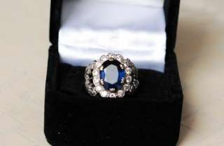 14K WHITE*GOLD+DIAMOND+OVAL 7.5 CT BLUE SAPPHIRE*Ring