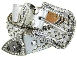 Crystal Rhinestone Studded Silver Leather Western Belt Size L Color