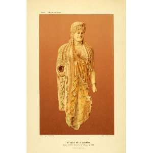 1890 Chromolithograph Statue Ancient Greece Athens