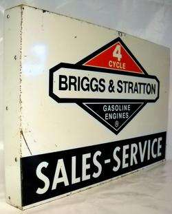VINTAGE BRIGGS & STRATTON GAS ENGINES TIN 2 SIDED FLANGE SIGN