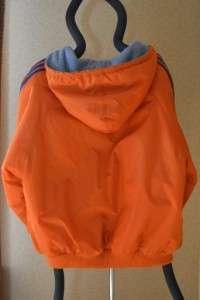 Adidas Reversible Mens Athletic Jacket Large Orange/Blue Nylon & Gray