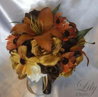 Wedding Bridal Bouquet Flower Bride Bridesmaid FALL ORANGE BROWN LILY