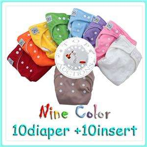New 10 PCS Adjustable Reusable Lot Baby Washable Cloth Diaper Nappies