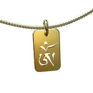 Tibetan Buddhist OM AUM 14K Solid Pink Gold Charm Pendant