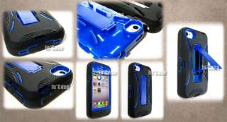 4S BLACK BLUE Fusion Hybrid Heavy Duty Hard FACEPLATE Case Cover+STAND