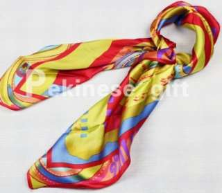 Red Yellow Horse Square 35 Silk Green Scarf Kerchief