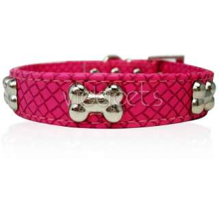 11 14 Pink Leather bones Dog Collar Small