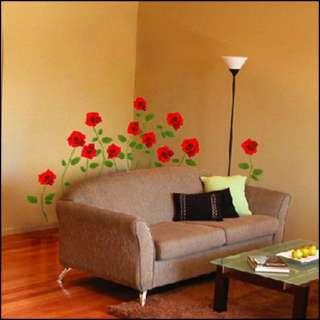 KS 400 RED ROSE FLOWER ART DECO MURAL WALL STICKER