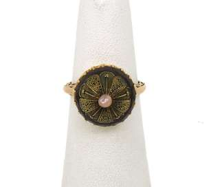 ANTIQUE VICTORIAN 14K GOLD, AMETHYST & PEARL DOMED RING