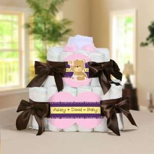 Teddy Bear Personalized Square   2 Tier Diaper Cake   Baby Shower Gift