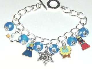 Nativity Christmas enamel charm bracelet Star Mary Jesus blue beads