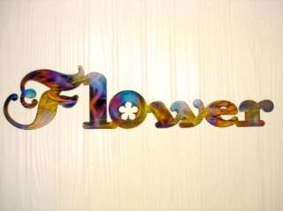 Multicolored Flower Metal Wall Art Home Decor Unique Word Art