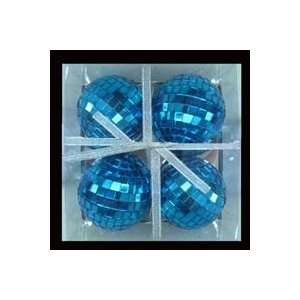 Club Pack of 24 Blue Mirrored Glass Disco Ball Christmas Ornaments 2