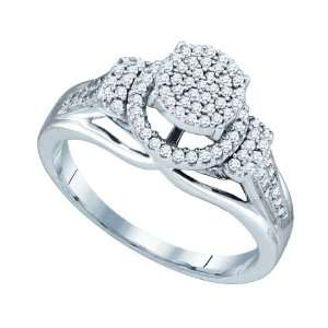 10k White Gold 0.33 Dwt Diamond Micro Pave Set Ring